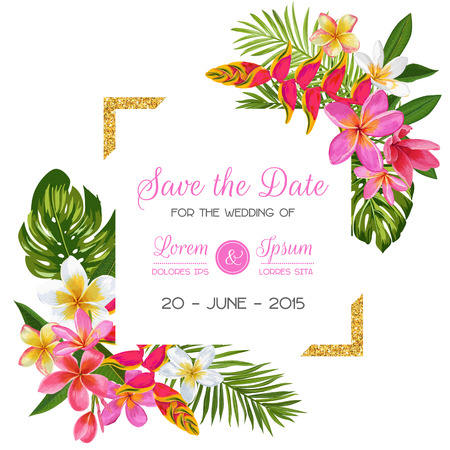 Illustration pour Wedding Invitation Template with Flowers. Tropical Floral Save the Date Card. Exotic Flower Romantic Design for Greeting Postcard, Birthday, Anniversary. Vector illustration - image libre de droit