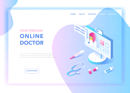 Ilustración de Online Medicine and Healthcare Flat Isometric Design Concept. Medical Services, Pharmacy Landing Page Template. Health Consultation Webpage Layout. Vector illustration - Imagen libre de derechos