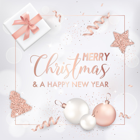 Illustration pour Elegant Merry Christmas Card with Rose Gold Christmas Tree Balls, Stars, Gifts for Invitation, Greetings or Flyer and New Year Brochure 2019 - image libre de droit