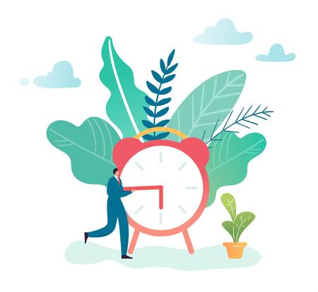 Illustration pour Time Management Business Process Optimization Concept. Businessman and Alarm Clock. Character productivity, efficiency, work rate. Vector illustration - image libre de droit