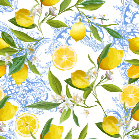 Illustration pour Seamless Pattern with vintage barocco design with yellow Lemon Fruits, Floral Background with Flowers, Leaves, Lemons for Wallpaper, Fabric, Print. Vector illustration - image libre de droit