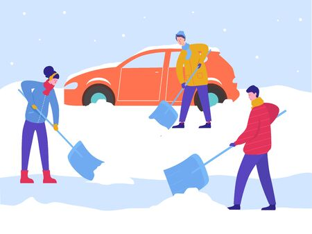 Illustration pour Winter Man and Woman Clean Car out of Snow, Remove Ice with Shovels, Cleaning Backyard Area. - image libre de droit