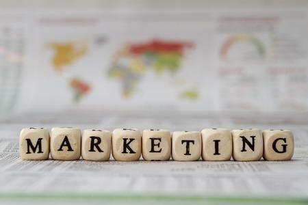 Foto de Marketing word built with letter cubes - Imagen libre de derechos