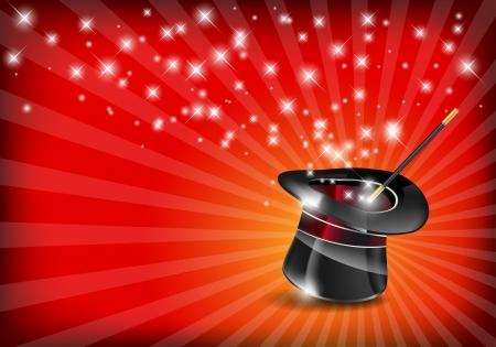 Ilustración de Glossy magic hat and wand with stars - vector file - Imagen libre de derechos