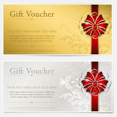 Illustration pour Gold and silver gift voucher - image libre de droit