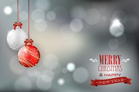 Ilustración de Christmas card with christmas balls on shiny background and place for your text. Vector illustration. - Imagen libre de derechos