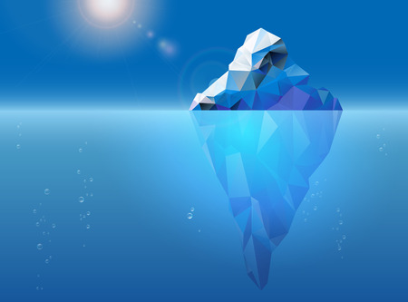 Illustration pour Iceberg floating on the sea surface, sun and air bubbles - vector illustration - image libre de droit