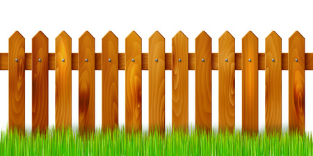 Ilustración de Wooden fence and grass - isolated on white background. Vector illustration. - Imagen libre de derechos