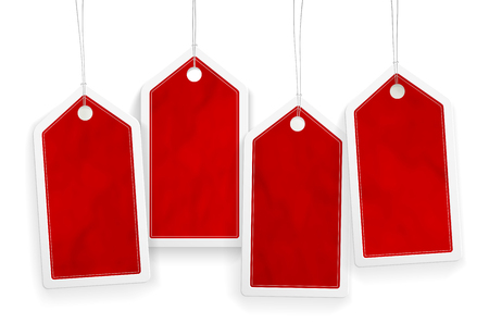 Ilustración de Set of four price red paper tags with place for your text - vector illustration - Imagen libre de derechos
