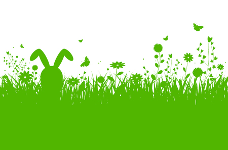 Illustration pour Spring silhouette easter background with abstract grass, flowers, bunny and butterflies - vector illustration - image libre de droit