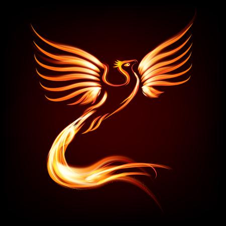 Illustration pour Phoenix bird fire silhouette - vector illustration - image libre de droit