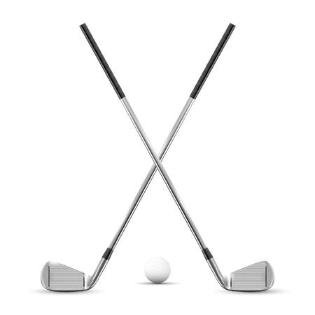 Ilustración de Two crossed golf clubs and ball - isolated on white background. Vector illustration. - Imagen libre de derechos