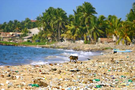 Foto de Garbage on a beach left by tourists, environmental pollution concept picture. - Imagen libre de derechos
