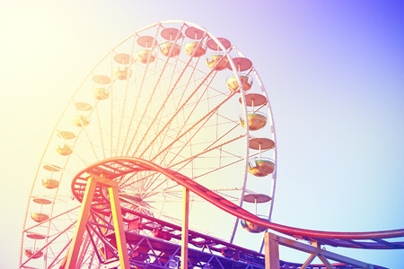 Photo for Vintage toned picture of an amusement park. - Royalty Free Image