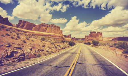 Photo for Vintage retro stylized scenic desert road, USA. - Royalty Free Image