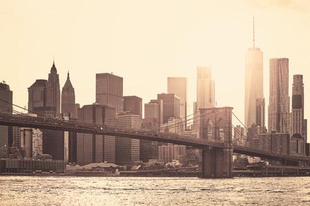 Photo pour Manhattan at sunset, sepia toning applied, New York City, USA. - image libre de droit