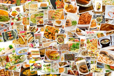Photo for Collage of lots of popular worldwide dinner foods and appetizers - Royalty Free Image