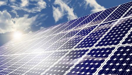 Photo pour Solar panels absorbing the suns energy on hot summer day - image libre de droit