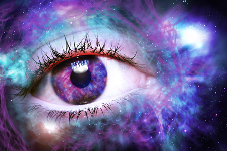 Photo for Giant eyeball starscape backdrop with colorful space clouds - Royalty Free Image