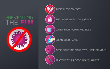 Ilustración de Preventing the Flu icon design, infographic health, medical infographic. Vector illustration - Imagen libre de derechos