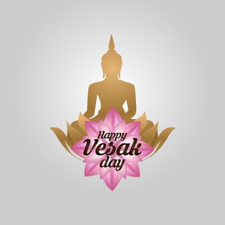 Illustration for Illustration Of Happy vesak Day Or Buddha Purnima Background, Vector Illustration. - Royalty Free Image