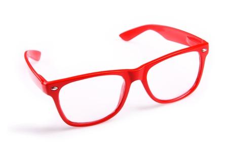 Foto de A picture of red trendy glasses over white background - Imagen libre de derechos