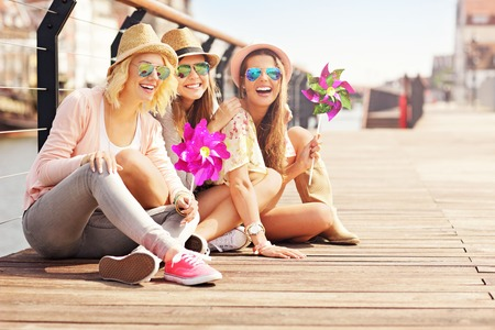Photo for A picture of a group of friends having fun in the city - Royalty Free Image