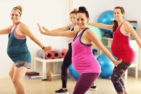 Photo pour Group of pregnant women during fitness class - image libre de droit