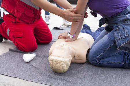 Foto de First aid training detail - Imagen libre de derechos