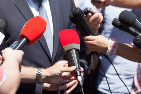Photo for Public relations - PR. Media interview. News conference. - Royalty Free Image