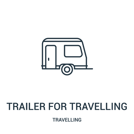 Illustration pour trailer for travelling icon vector from travelling collection. Thin line trailer for travelling outline icon vector illustration. Linear symbol for use on web and mobile apps, logo, print media. - image libre de droit