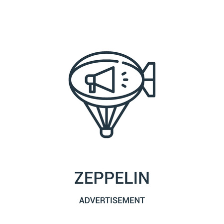 Illustration pour zeppelin icon vector from advertisement collection. Thin line zeppelin outline icon vector illustration. Linear symbol for use on web and mobile apps, logo, print media. - image libre de droit