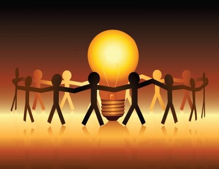 Ilustración de A conceptual illustration of a team of paper people uniting around a brightly lit light bulb - Imagen libre de derechos
