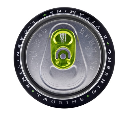 Springfield, Missouri - March 6, 2011:An isolated close up studio shot of the top portion of a can of Monster Energy