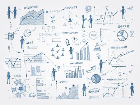 Ilustración de Set of doodle business management infographics elements isolated vector illustration - Imagen libre de derechos