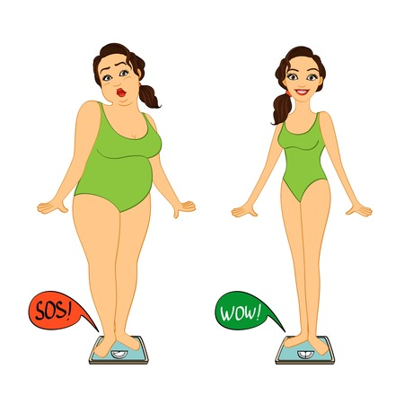 Illustration pour Fat and slim woman on weights scales, diet and exercises progress isolated illustration - image libre de droit