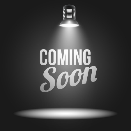 Illustration pour Coming soon message illuminated with light projector blank stage realistic illustration - image libre de droit