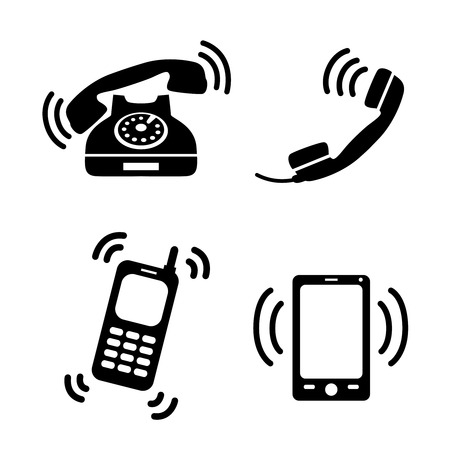 Illustration pour Collection of ringing classic telephone mobile and smartphones isolated vector illustration - image libre de droit