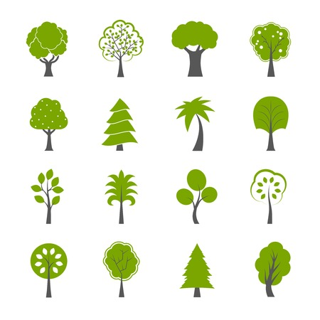 Illustration pour Collection of natural green trees icons set pine fir oak and other trees isolated illustration - image libre de droit