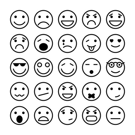 Illustration pour Smiley faces elements for website design isolated vector illustration - image libre de droit