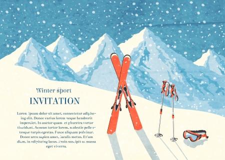 Illustration pour Ski winter mountain landscape retro invitation card frame  illustration - image libre de droit