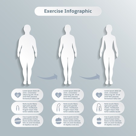 Illustration pour Infographic elements for women fitness and sports of slimness weight loss and healthcare illustration - image libre de droit