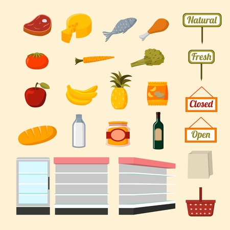 Illustration pour Collection of flat supermarket food items of fresh and natural vegetables fruits meat and dairy products isolated  illustration - image libre de droit