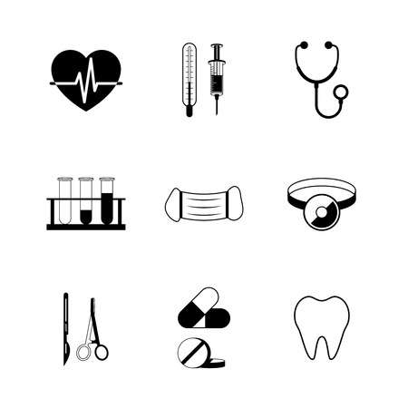 Illustration pour Medical pictogram collection of tube tooth heart pill isolated vector illustration - image libre de droit
