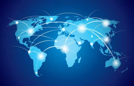 Illustration pour World map with global technology or social connection network with nodes and links vector illustration - image libre de droit