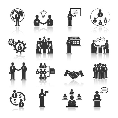 Illustration pour Business people meeting at office conference presentation icons set isolated vector illustration - image libre de droit