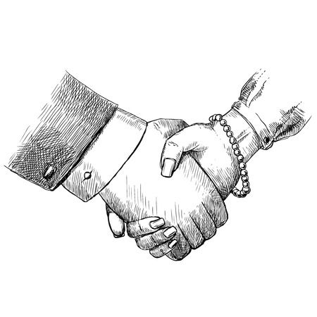 Illustration pour Business handshake man and woman successful teamwork greeting friendship concept isolated vector illustration - image libre de droit
