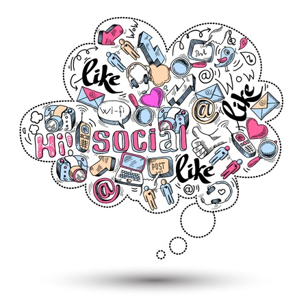 Illustration for Doodle speech bubble icon with social media infographics isolated vector illustration - Royalty Free Image