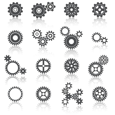 Illustration pour Abstract technology cogs wheels and gears icons set  - image libre de droit