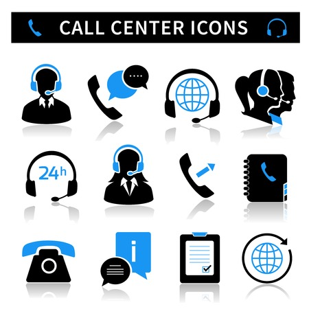 Illustration pour Call center service icons set of contacts mobile phone and communication isolated illustration - image libre de droit